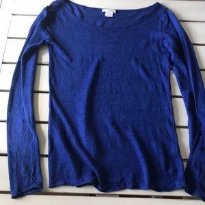 Club Monaco Sapphire Blue Linen Blend Knit Top